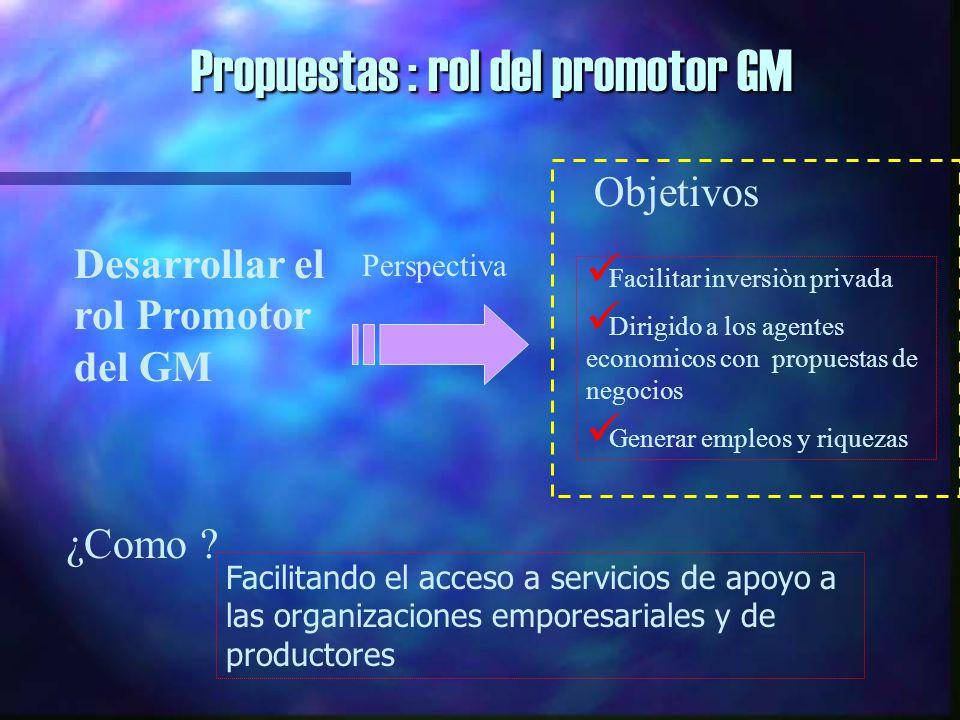 Propuestas : rol del promotor GM Desarrollar el rol Promotor del GM Perspectiva Objetivos Facilitar inversiòn privada Dirigido a los agentes economicos con propuestas de negocios Generar empleos y riquezas ¿Como .