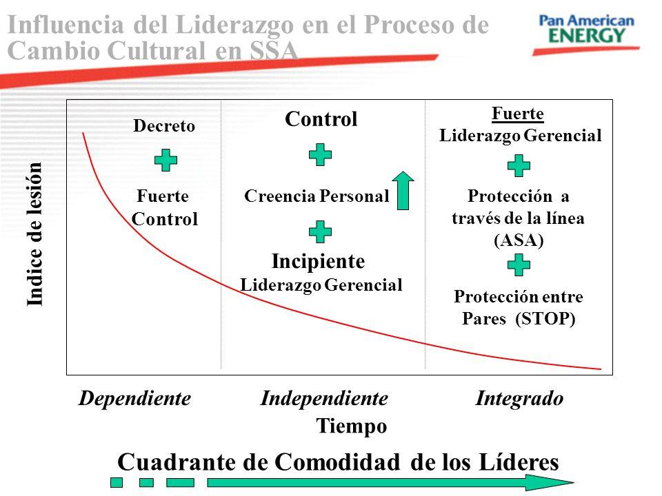 Indice de lesión Tiempo Dependiente Independiente Integrado Cuadrante de Comodidad de los Líderes Decreto Fuerte Control Influencia del Liderazgo en e