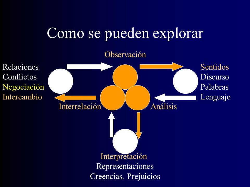 Como se pueden explorar Observación AnálisisInterrelación Sentidos Discurso Palabras Lenguaje Interpretación Representaciones Creencias.