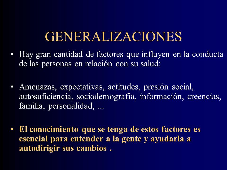GENERALIZACIONES Hay gran cantidad de factores que influyen en la conducta de las personas en relación con su salud: Amenazas, expectativas, actitudes, presión social, autosuficiencia, sociodemografía, información, creencias, familia, personalidad,...
