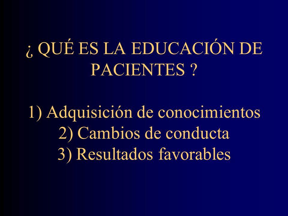 ¿ QUÉ ES LA EDUCACIÓN DE PACIENTES .