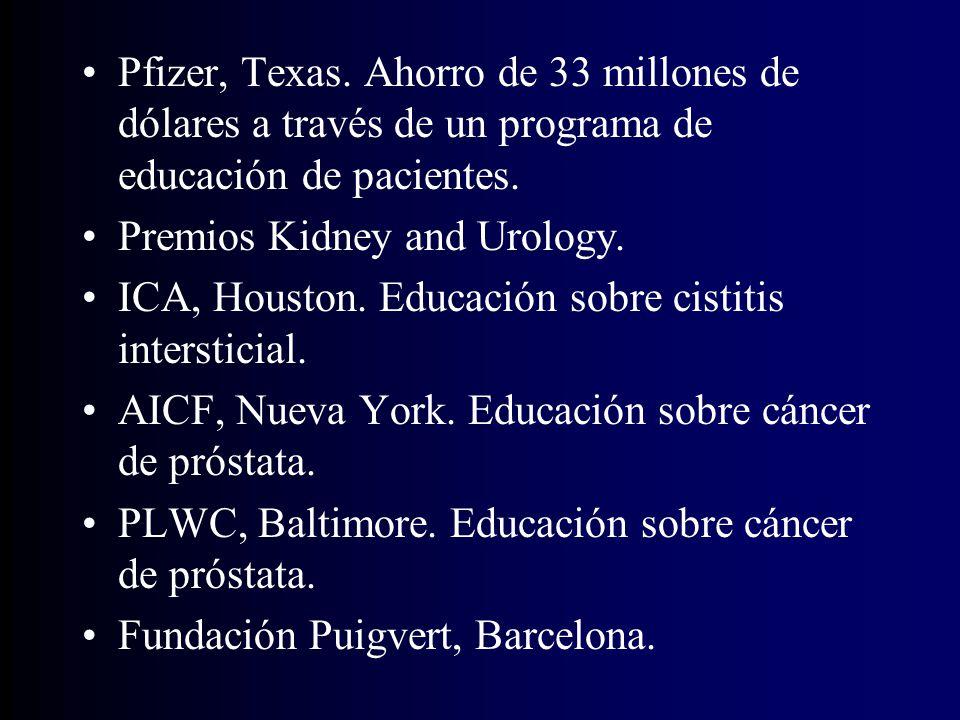 Pfizer, Texas.Ahorro de 33 millones de dólares a través de un programa de educación de pacientes.