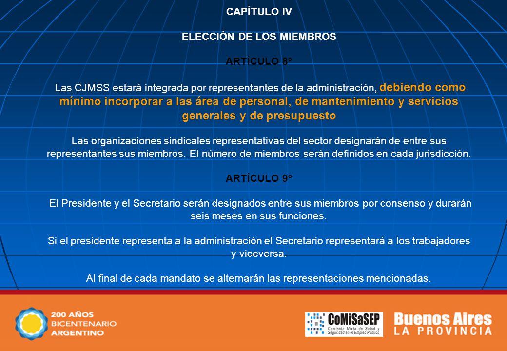 CAPÍTULO IV ELECCIÓN DE LOS MIEMBROS ARTÍCULO 8º Las CJMSS estará integrada por representantes de la administración, debiendo como mínimo incorporar a