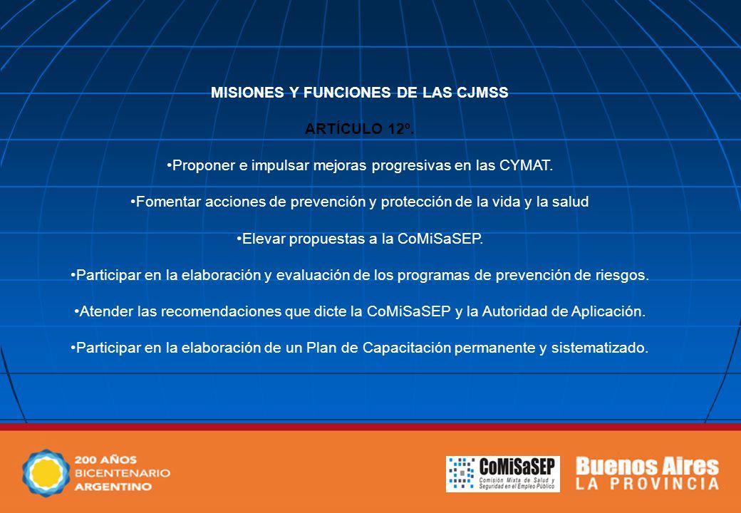 MISIONES Y FUNCIONES DE LAS CJMSS ARTÍCULO 12º. Proponer e impulsar mejoras progresivas en las CYMAT. Fomentar acciones de prevención y protección de