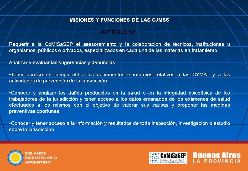 MISIONES Y FUNCIONES DE LAS CJMSS ARTÍCULO 12º. Requerir a la CoMiSaSEP el asesoramiento y la colaboración de técnicos, instituciones u organismos, pú