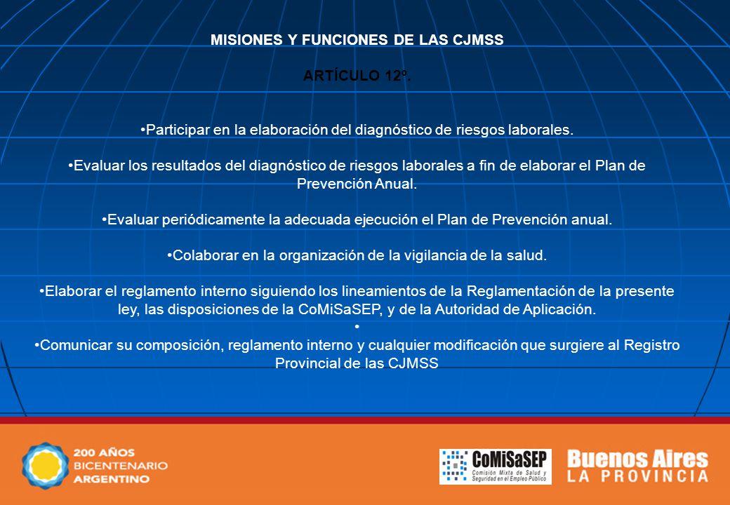 MISIONES Y FUNCIONES DE LAS CJMSS ARTÍCULO 12º. Participar en la elaboración del diagnóstico de riesgos laborales. Evaluar los resultados del diagnóst