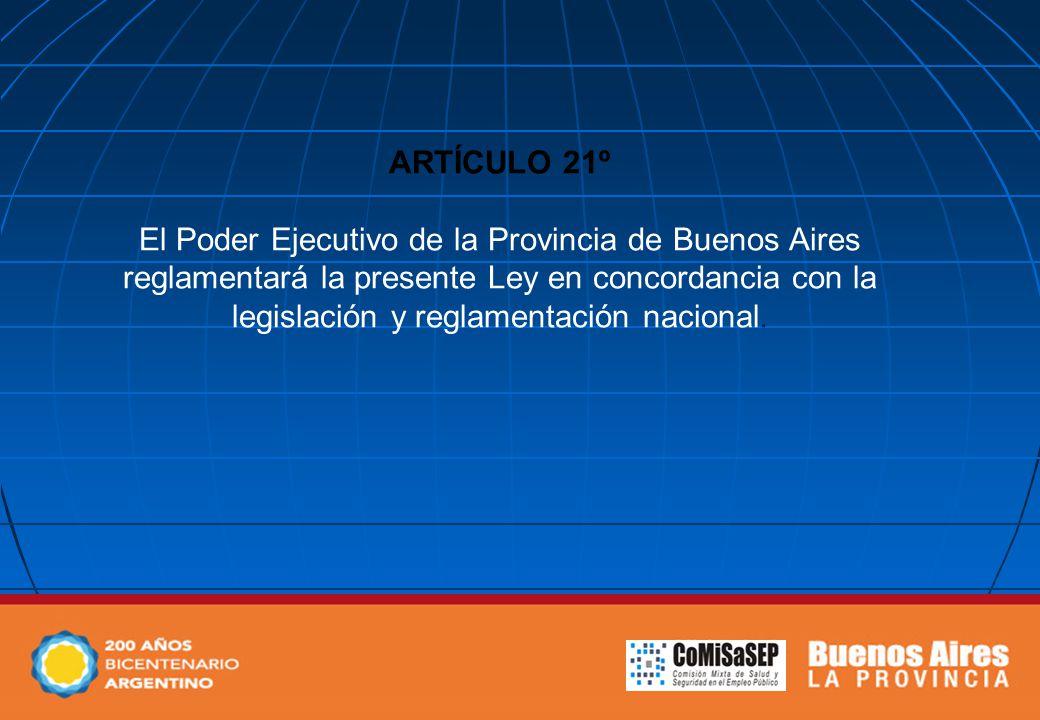 ARTÍCULO 21º El Poder Ejecutivo de la Provincia de Buenos Aires reglamentará la presente Ley en concordancia con la legislación y reglamentación nacional.