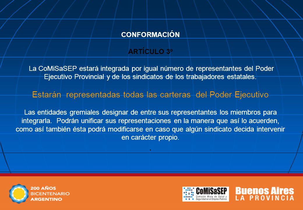 CONFORMACIÓN ARTÍCULO 3º La CoMiSaSEP estará integrada por igual número de representantes del Poder Ejecutivo Provincial y de los sindicatos de los trabajadores estatales.