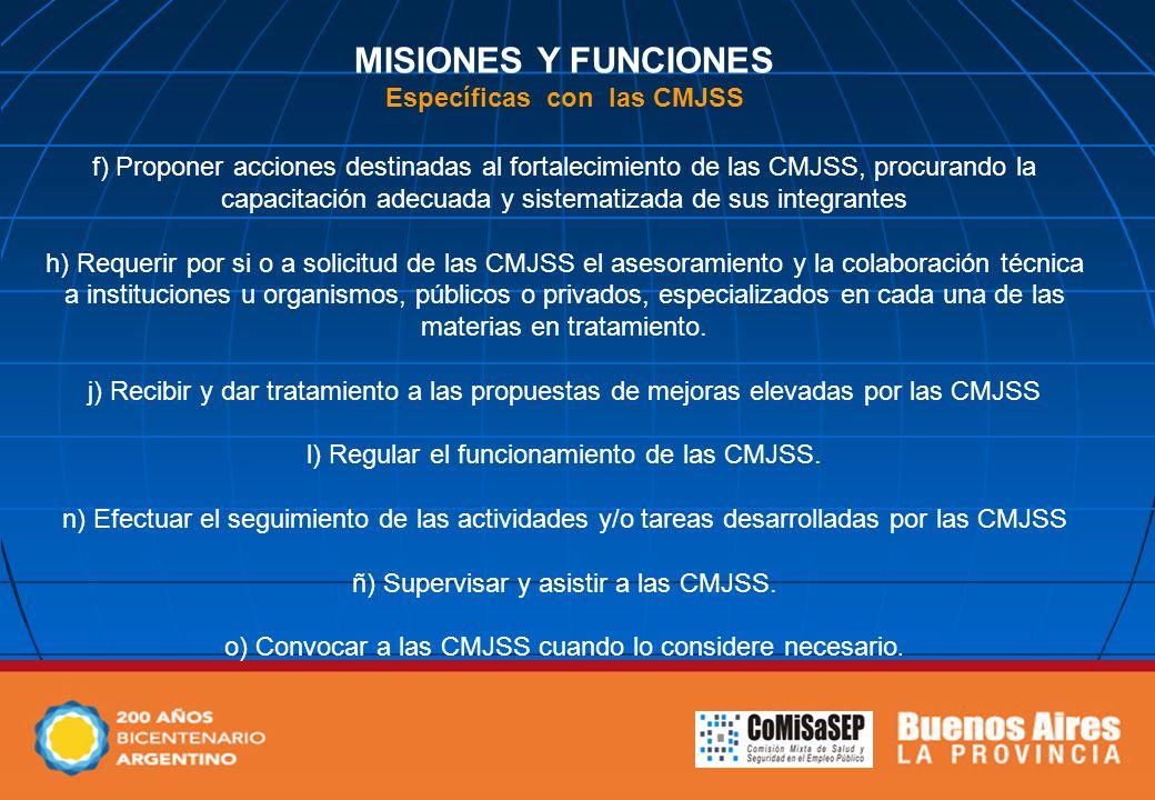 MISIONES Y FUNCIONES Específicas con las CMJSS f) Proponer acciones destinadas al fortalecimiento de las CMJSS, procurando la capacitación adecuada y