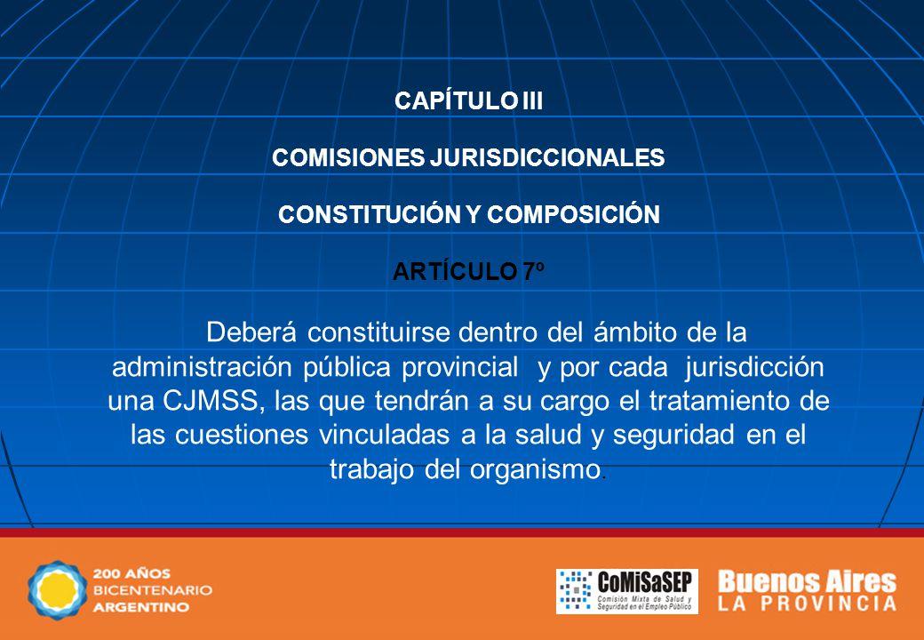 CAPÍTULO III COMISIONES JURISDICCIONALES CONSTITUCIÓN Y COMPOSICIÓN ARTÍCULO 7º Deberá constituirse dentro del ámbito de la administración pública pro