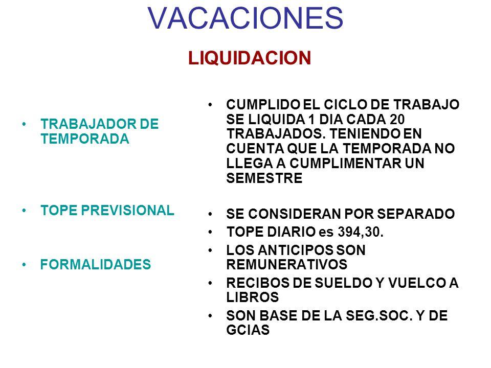 VACACIONES LIQUIDACION TRABAJADOR DE TEMPORADA TOPE PREVISIONAL FORMALIDADES CUMPLIDO EL CICLO DE TRABAJO SE LIQUIDA 1 DIA CADA 20 TRABAJADOS.