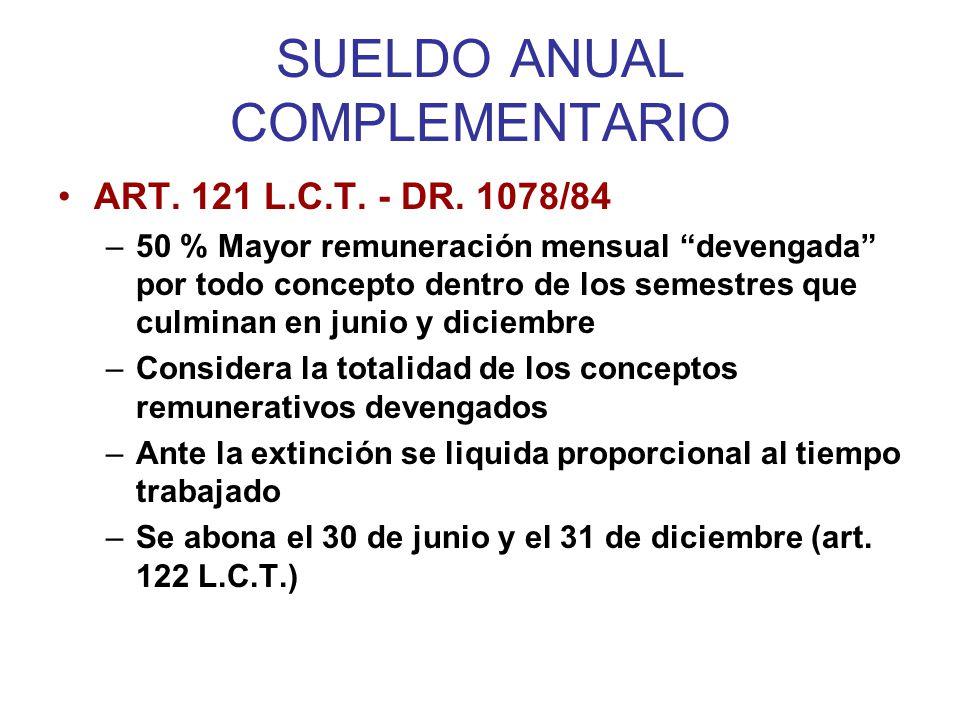SUELDO ANUAL COMPLEMENTARIO –Devengamiento mensual –Pago Semestral (o su proporción) –Carácter remunerativo –Pago diferido –TOPE PREVISIONAL.