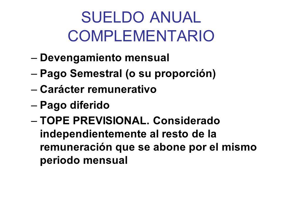 SUELDO ANUAL COMPLEMENTARIO –CALCULO MRDS ____2____ x días semestre 180 MRDS x días semestre 360