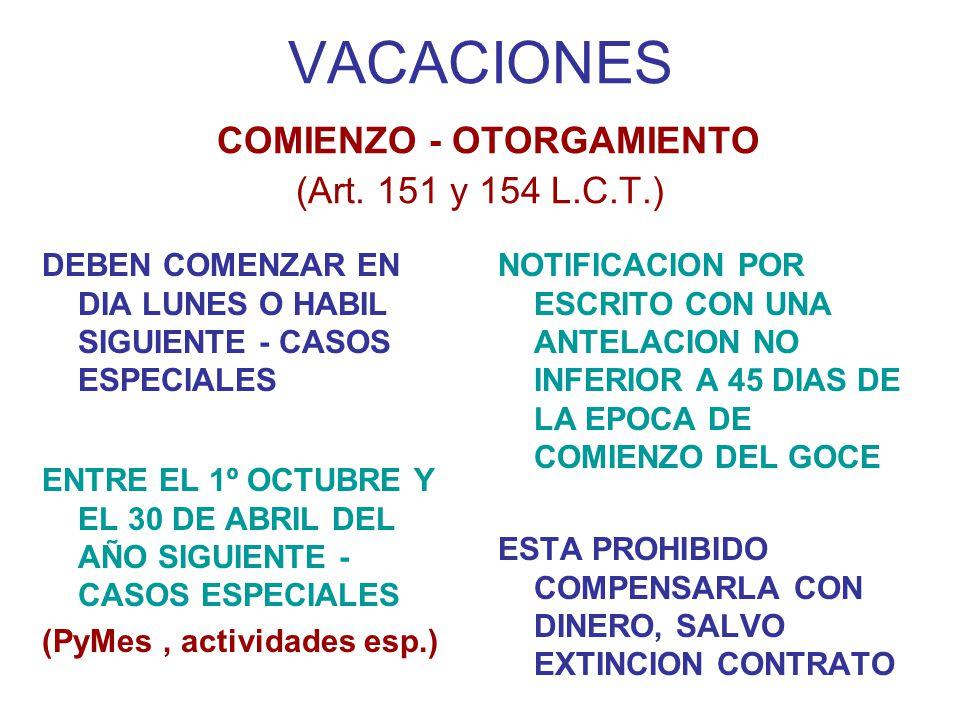 VACACIONES COMIENZO - OTORGAMIENTO (Art.