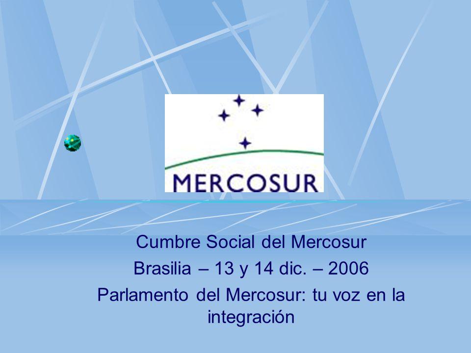 Cumbre Social del Mercosur Brasilia – 13 y 14 dic. – 2006 Parlamento del Mercosur: tu voz en la integración