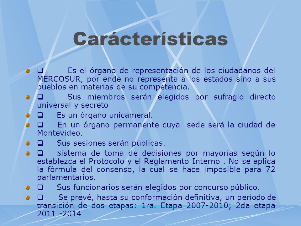 Carácterísticas Es el órgano de representación de los ciudadanos del MERCOSUR, por ende no representa a los estados sino a sus pueblos en materias de