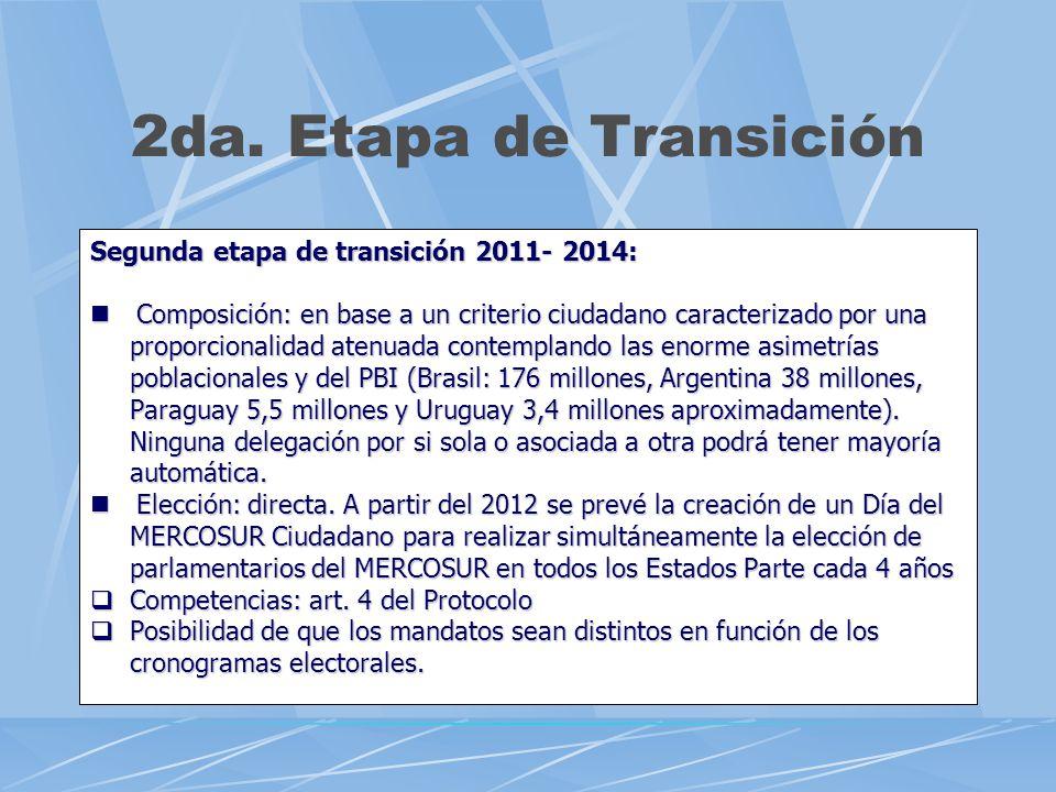 2da. Etapa de Transición Segunda etapa de transición 2011- 2014: Composición: en base a un criterio ciudadano caracterizado por una proporcionalidad a
