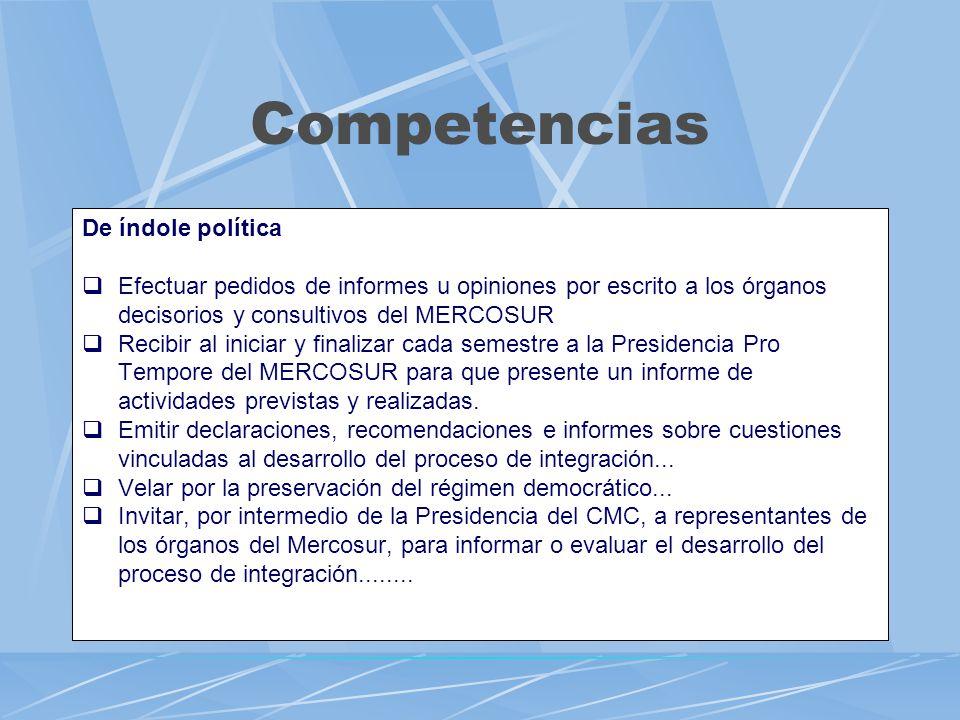 Competencias De índole política Efectuar pedidos de informes u opiniones por escrito a los órganos decisorios y consultivos del MERCOSUR Recibir al in