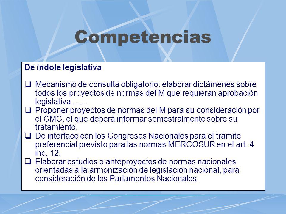 Competencias De índole legislativa Mecanismo de consulta obligatorio: elaborar dictámenes sobre todos los proyectos de normas del M que requieran apro