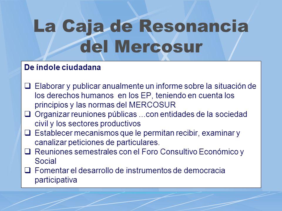 La Caja de Resonancia del Mercosur De índole ciudadana Elaborar y publicar anualmente un informe sobre la situación de los derechos humanos en los EP,