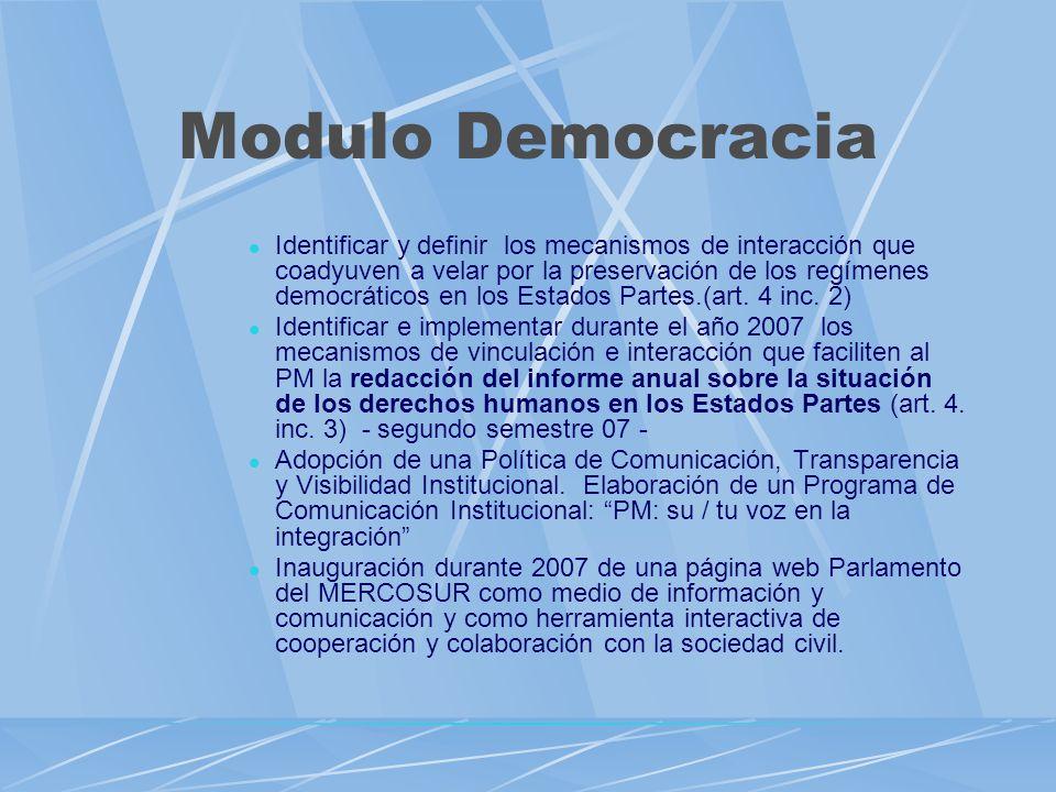 Modulo Democracia Identificar y definir los mecanismos de interacción que coadyuven a velar por la preservación de los regímenes democráticos en los Estados Partes.(art.