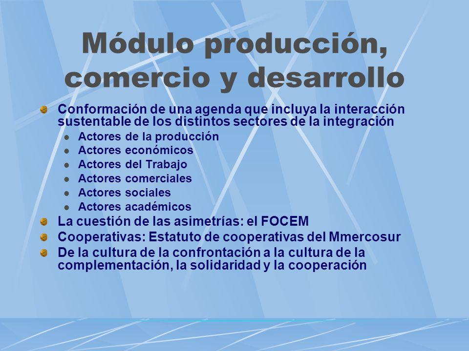 Módulo producción, comercio y desarrollo Conformación de una agenda que incluya la interacción sustentable de los distintos sectores de la integración