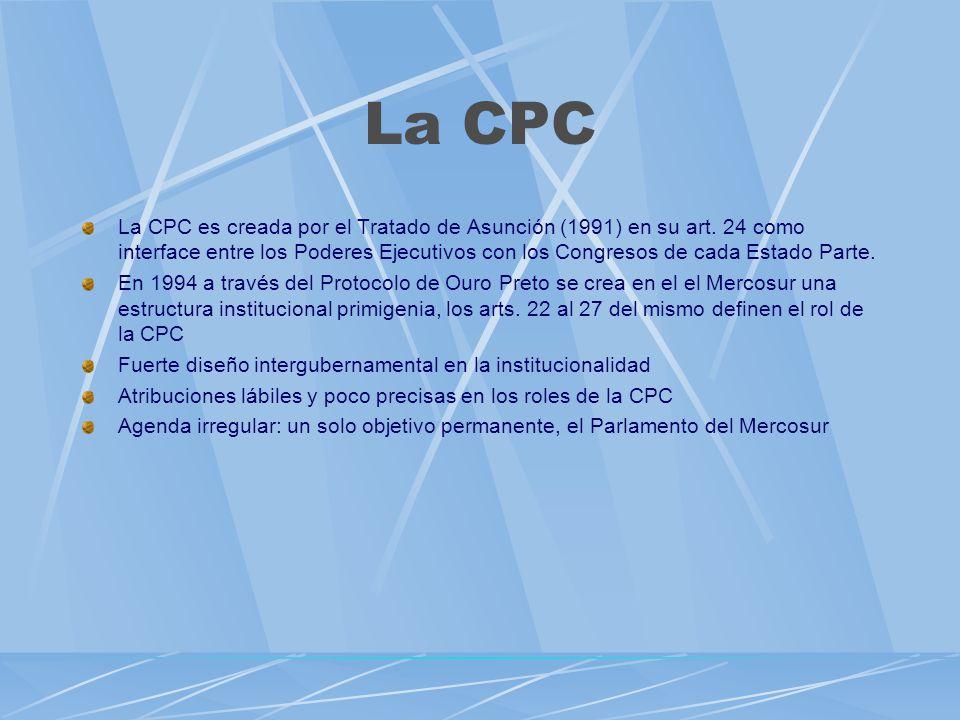 La CPC La CPC es creada por el Tratado de Asunción (1991) en su art. 24 como interface entre los Poderes Ejecutivos con los Congresos de cada Estado P