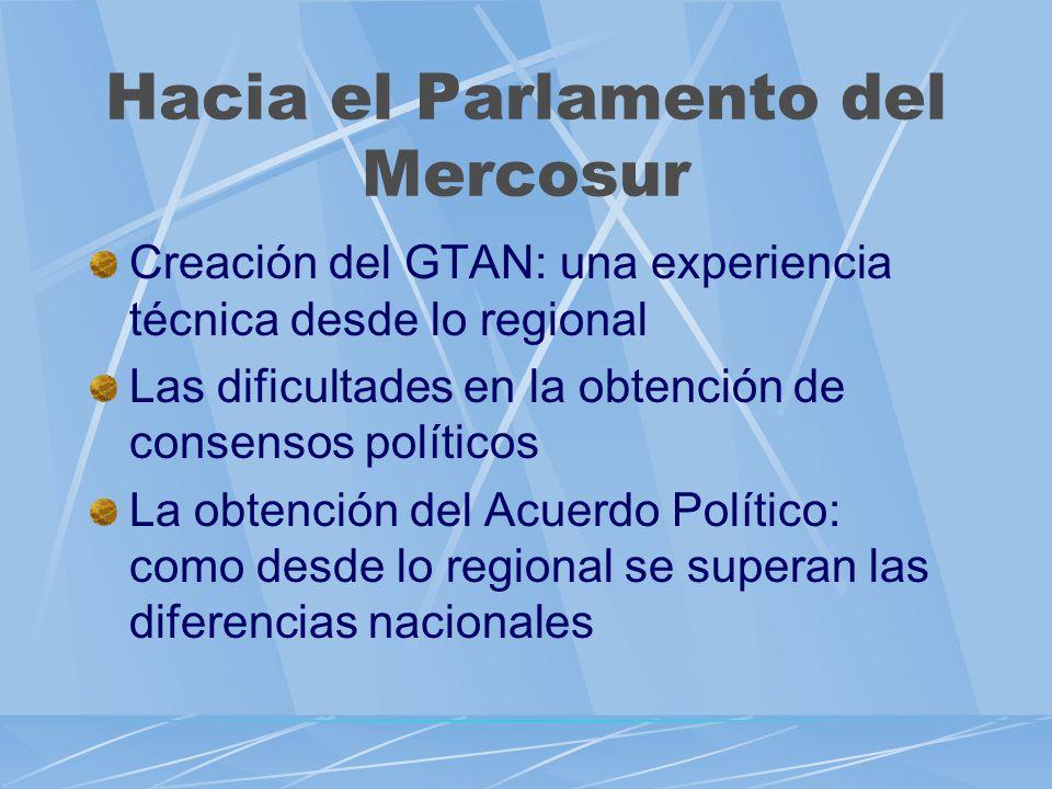 Hacia el Parlamento del Mercosur Creación del GTAN: una experiencia técnica desde lo regional Las dificultades en la obtención de consensos políticos La obtención del Acuerdo Político: como desde lo regional se superan las diferencias nacionales