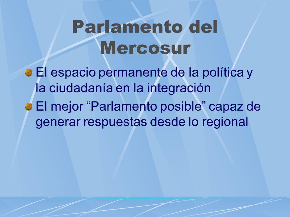 Parlamento del Mercosur El espacio permanente de la política y la ciudadanía en la integración El mejor Parlamento posible capaz de generar respuestas