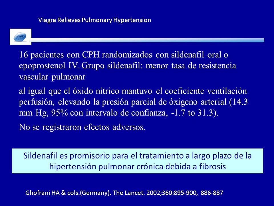 Viagra Relieves Pulmonary Hypertension Ghofrani HA & cols.(Germany). The Lancet. 2002;360:895-900, 886-887 Sildenafil es promisorio para el tratamient