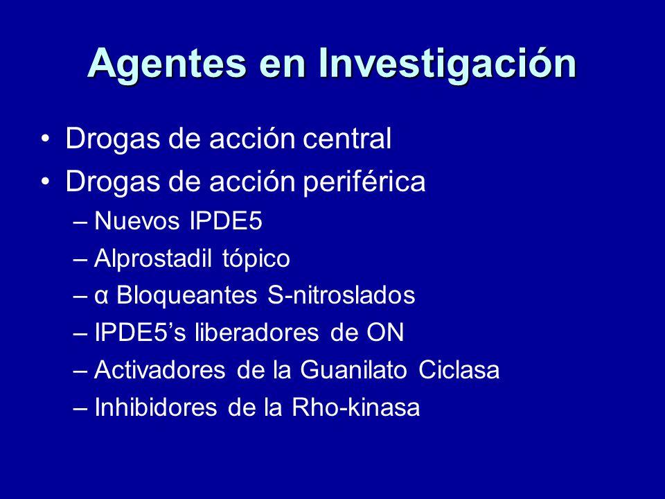Agentes en Investigación Drogas de acción central Drogas de acción periférica –Nuevos IPDE5 –Alprostadil tópico –α Bloqueantes S-nitroslados –IPDE5s liberadores de ON –Activadores de la Guanilato Ciclasa –Inhibidores de la Rho-kinasa