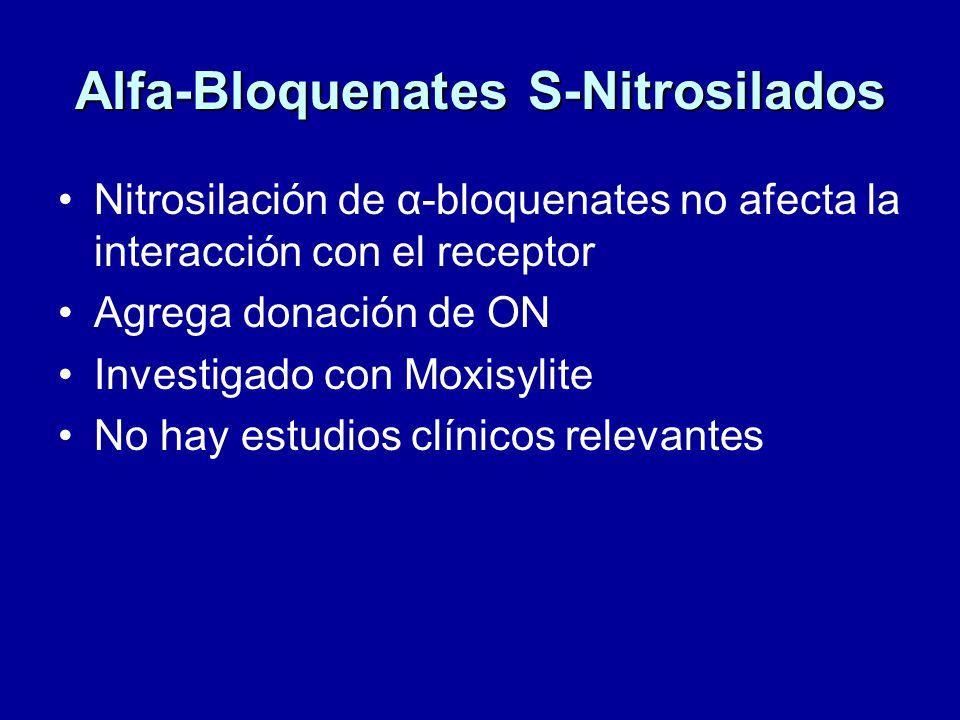 Alfa-Bloquenates S-Nitrosilados Nitrosilación de α-bloquenates no afecta la interacción con el receptor Agrega donación de ON Investigado con Moxisylite No hay estudios clínicos relevantes