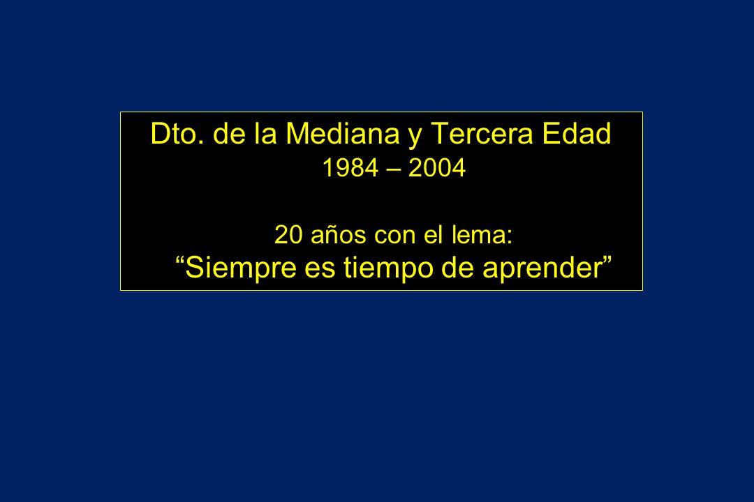 Dto. de la Mediana y Tercera Edad 1984 – 2004 20 años con el lema: Siempre es tiempo de aprender