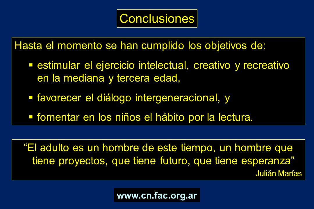 Conclusiones El adulto es un hombre de este tiempo, un hombre que tiene proyectos, que tiene futuro, que tiene esperanza Julián Marías Hasta el moment