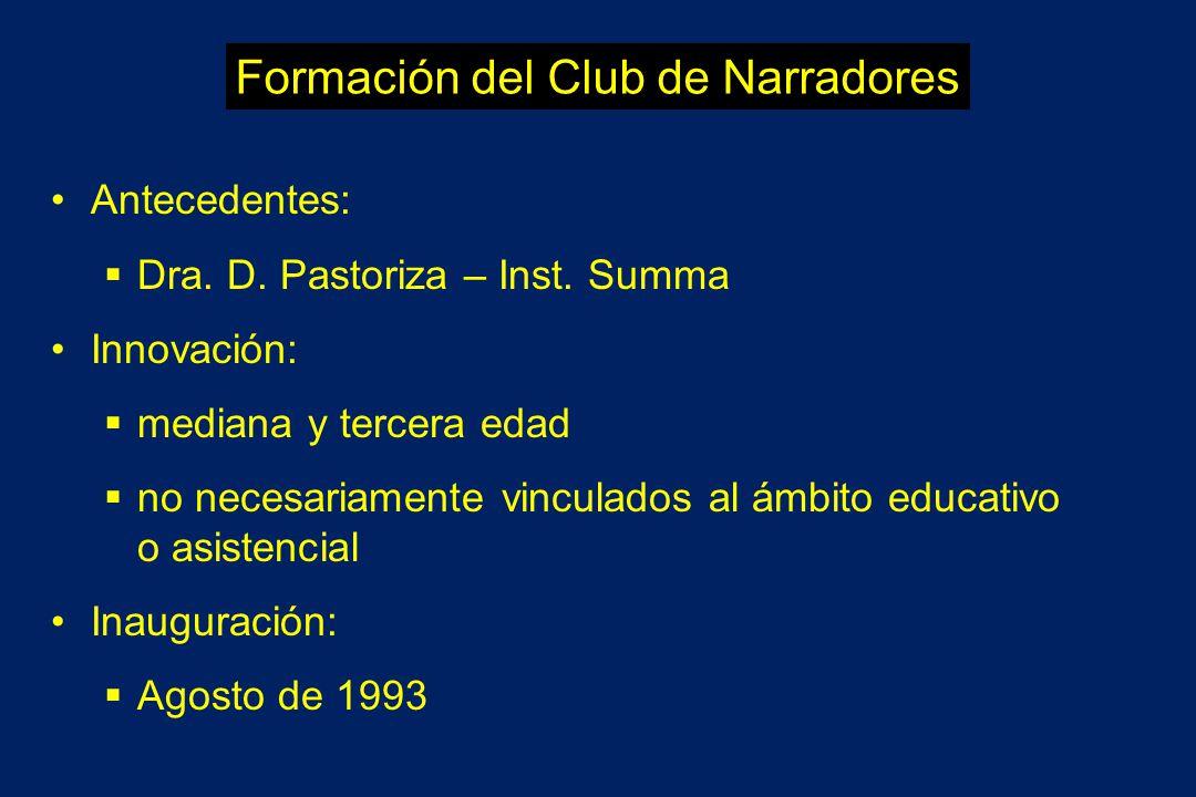 Formación del Club de Narradores Antecedentes: Dra. D. Pastoriza – Inst. Summa Innovación: mediana y tercera edad no necesariamente vinculados al ámbi
