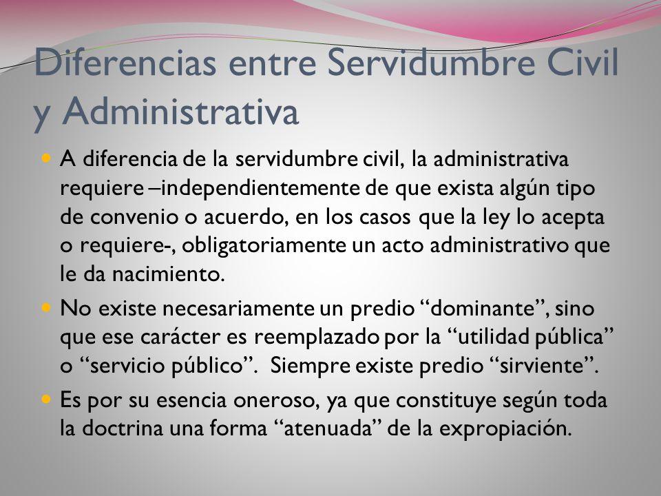 Servidumbres Administrativas Es un derecho real de servidumbre constituido por el Estado o una persona de Derecho Público, sobre un inmueble privado o