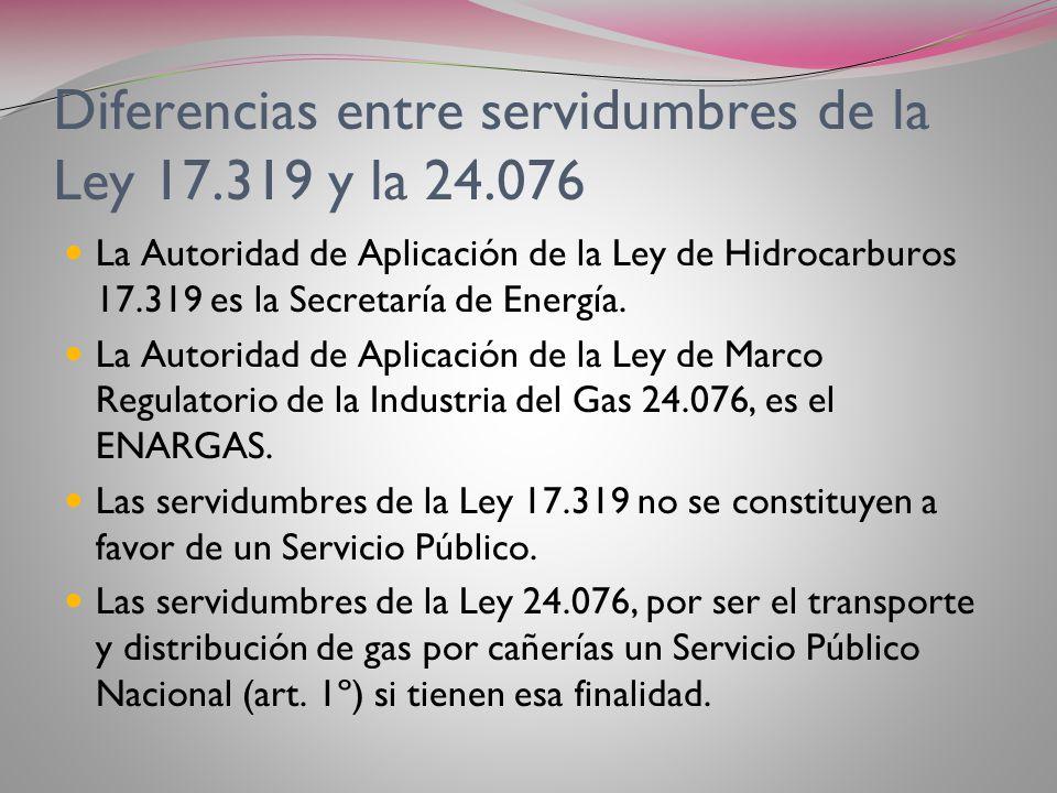 Servidumbres de gasoducto de la ley 24.076 Art. 52 inc. M) obliga al ENTE a: Velar por la protección de la propiedad, el medio ambiente y la seguridad