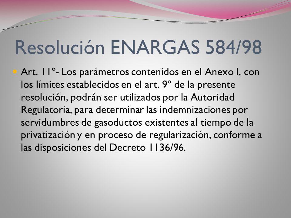 Resolución ENARGAS 584/98 Art. 10º- En ningún caso, los montos provisorios determinados por el Ente, incluirán las indemnizaciones debidas por daños y