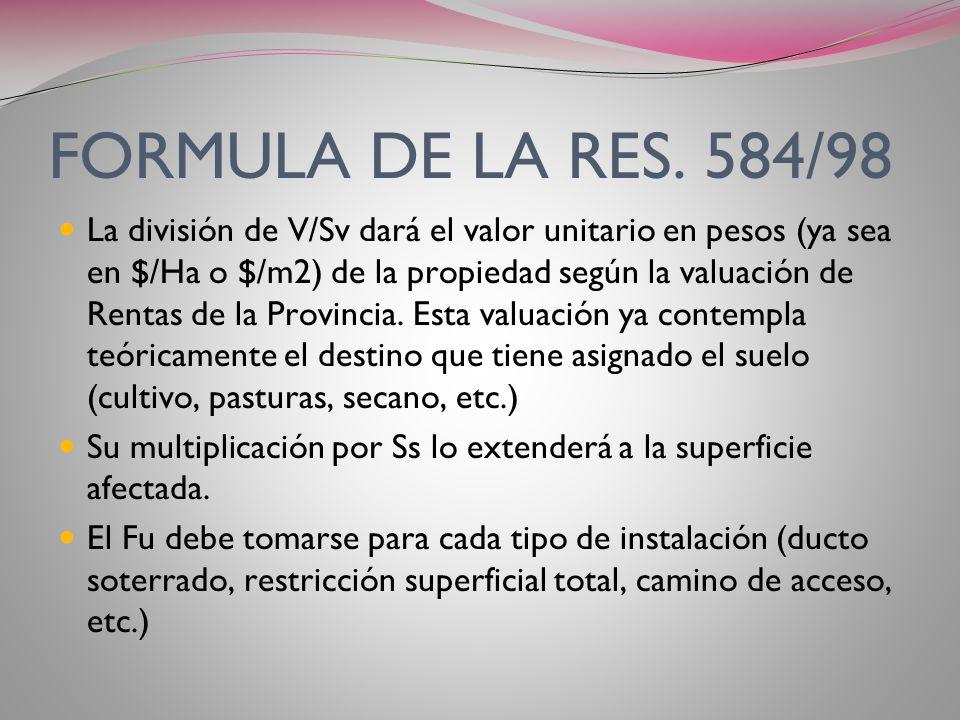 FORMULA DE LA RES. 584/98 C= V x Ss x Fu x Fp Sv C: canon a pagar en $ V: valuación fiscal (Ha o m2) Sv: superficie total de la valuación fiscal (Ha o