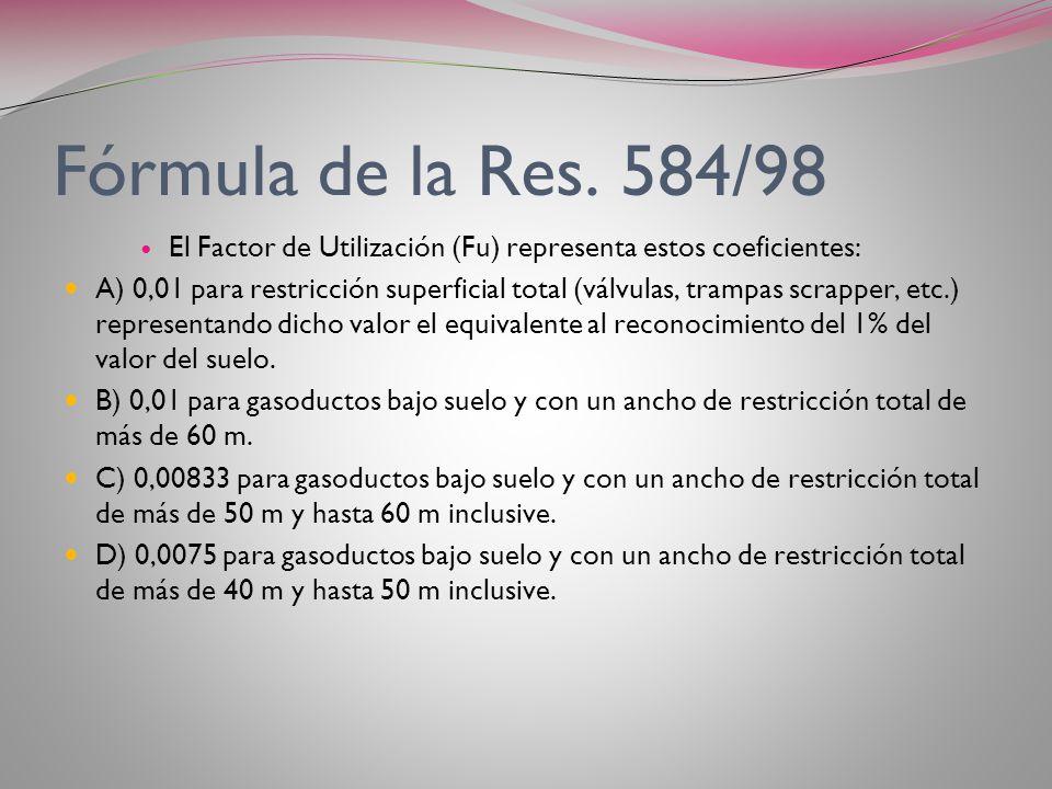 FORMULA DE LA RES. 584/98 La división de V/Sv dará el valor unitario en pesos (ya sea en $/Ha o $/m2) de la propiedad según la valuación de Rentas de
