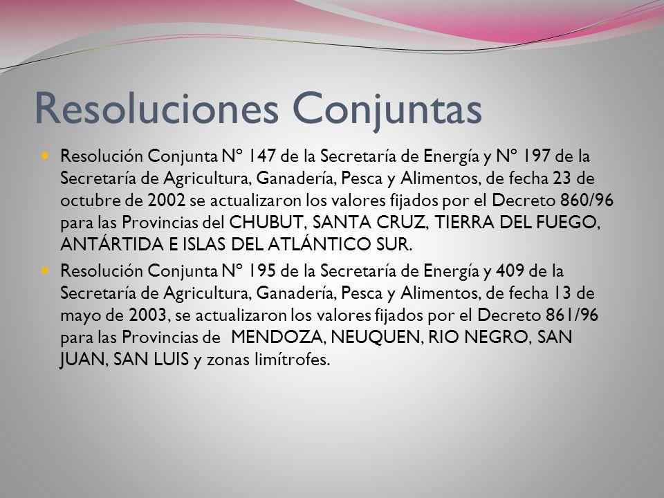 Modificación de valores Mediante las Resoluciones conjuntas de la Secretaría de Energía y de Agricultura, se establecieron nuevos valores para las ser