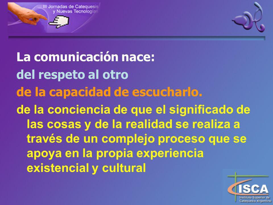La comunicación nace: del respeto al otro de la capacidad de escucharlo.