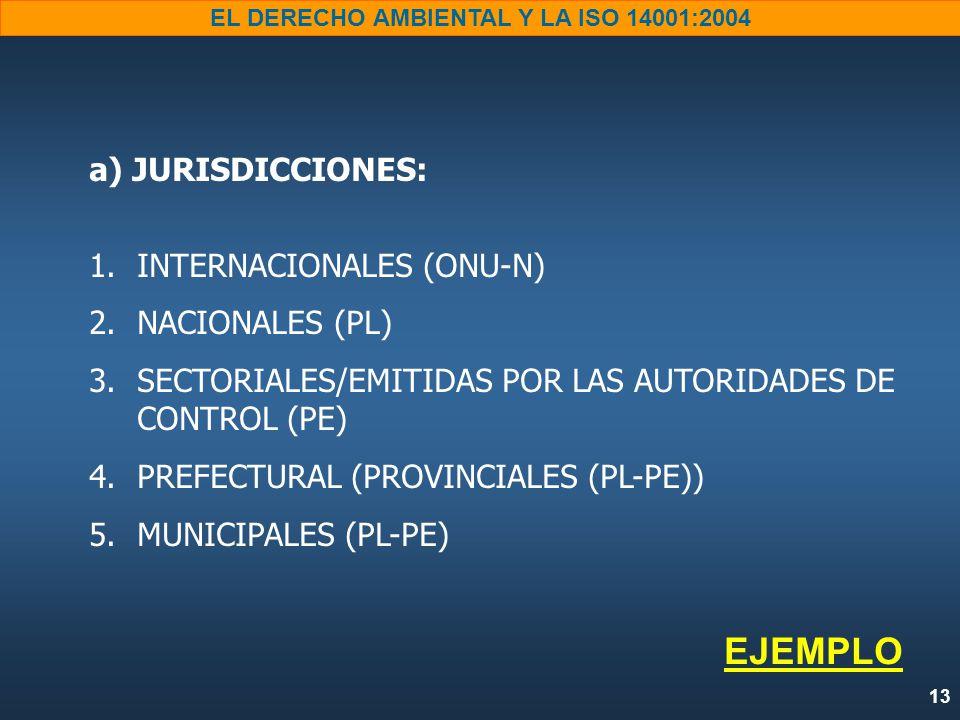 13 EL DERECHO AMBIENTAL Y LA ISO 14001:2004 a) JURISDICCIONES: 1.