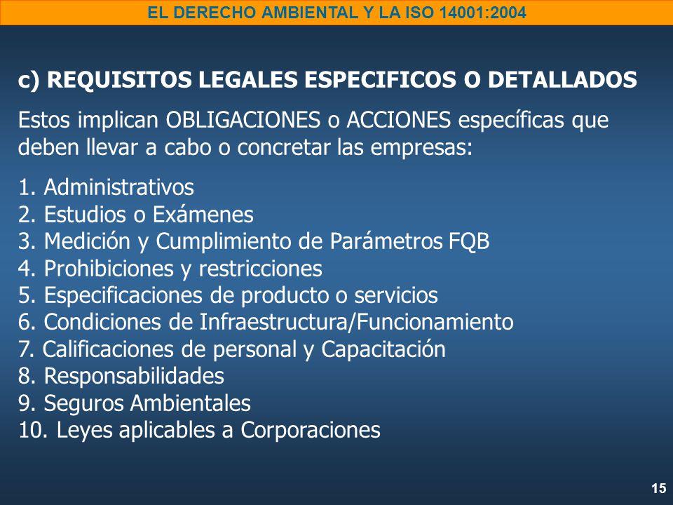 15 EL DERECHO AMBIENTAL Y LA ISO 14001:2004 c) REQUISITOS LEGALES ESPECIFICOS O DETALLADOS Estos implican OBLIGACIONES o ACCIONES específicas que deben llevar a cabo o concretar las empresas: 1.