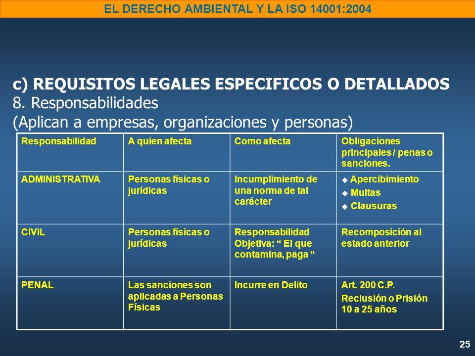 25 EL DERECHO AMBIENTAL Y LA ISO 14001:2004 c) REQUISITOS LEGALES ESPECIFICOS O DETALLADOS 8.