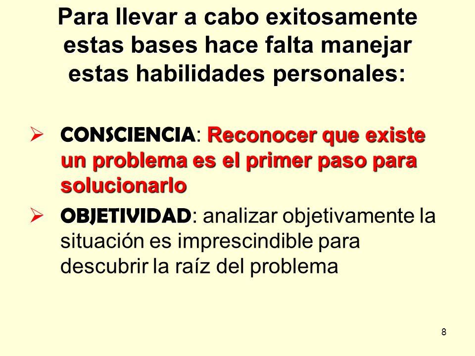 8 Para llevar a cabo exitosamente estas bases hace falta manejar estas habilidades personales: CONSCIENCIA Reconocer que existe un problema es el prim