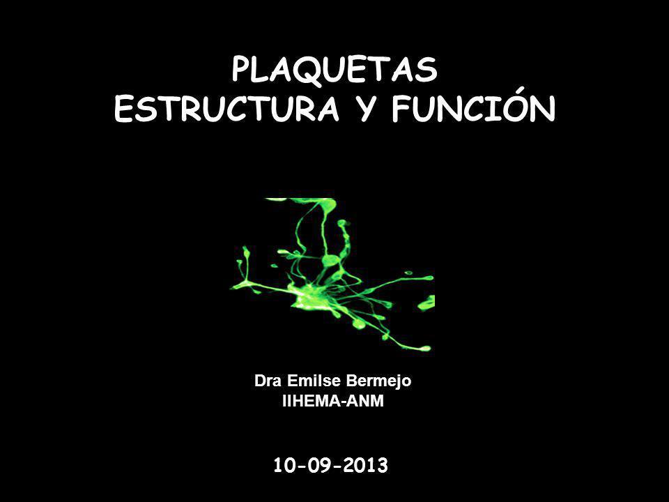 PLAQUETAS ESTRUCTURA Y FUNCIÓN Dra Emilse Bermejo IIHEMA-ANM 10-09-2013