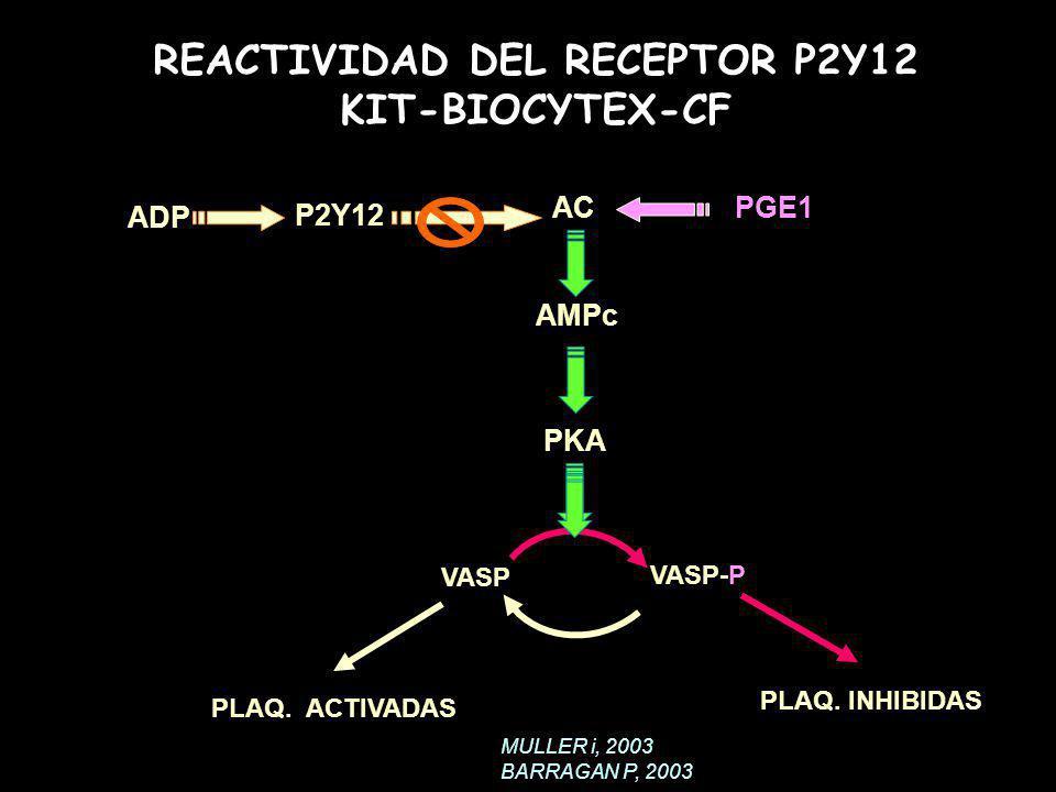 PGE1 AMPc VASP VASP-P PLAQ. ACTIVADAS PLAQ. INHIBIDAS ADP PKA AC P2Y12 REACTIVIDAD DEL RECEPTOR P2Y12 KIT-BIOCYTEX-CF MULLER i, 2003 BARRAGAN P, 2003