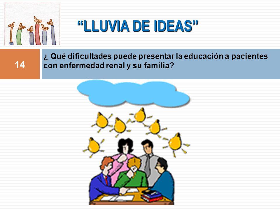LLUVIA DE IDEAS 14 ¿ Qué dificultades puede presentar la educación a pacientes con enfermedad renal y su familia?