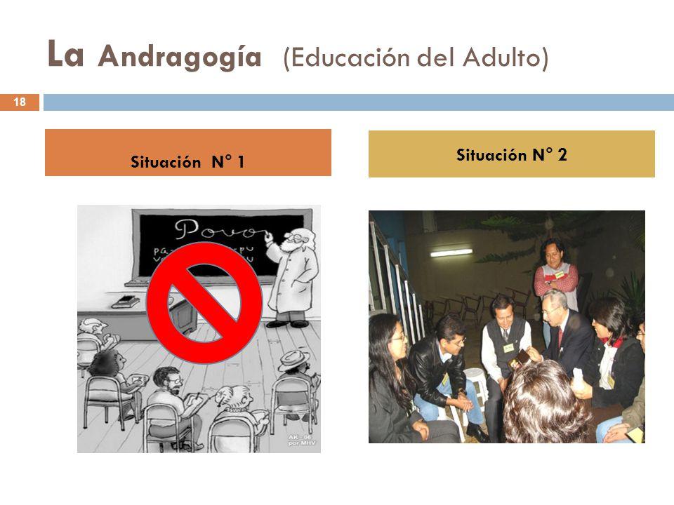 La Andragogía (Educación del Adulto) Situación N° 1 Situación N° 2 18